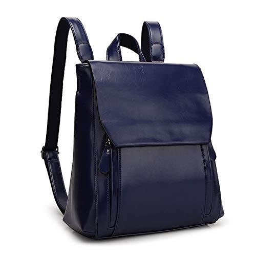 Sakuldes Cerniera Daypack Blue Impermeabile Pelle Zaino Pu In Viaggio Per Black Con Shopping color Royal Da Casual Di Cera rrPq0