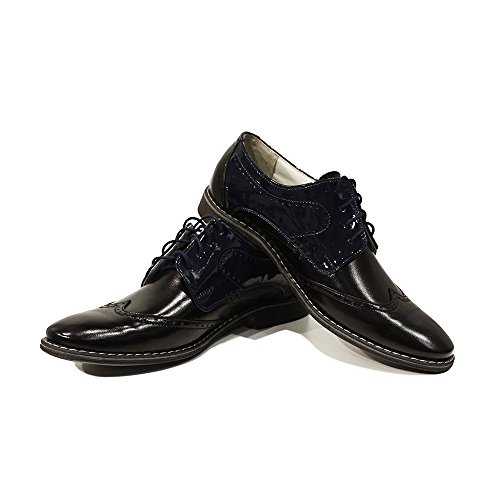 Modello Crispino - Cuero Italiano Hecho A Mano Hombre Piel Negro Zapatos Vestir Oxfords - Cuero Cuero suave - Encaje