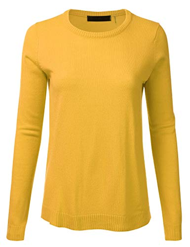 Women's Crewneck Long Sleeve Soft Pullover Knit Sweater Top with Ribbed Trim Honey S