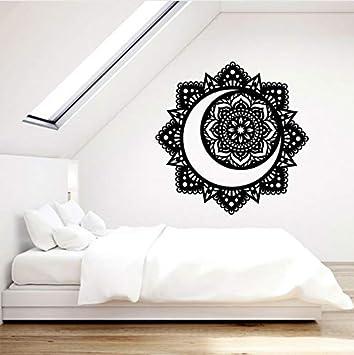 Vinilo Tatuajes de pared Mandala Budista Flor de Loto Luna Yoga ...