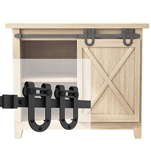 SMARTSTANDARD 3FT Super Mini Sliding Barn Door Hardware Track Kit -Smoothly and Quietly -for Cabinet, TV Stand, Closet, Window -Fit 18″ Wide Door Panel -U Shape Hanger (NO Cabinet)