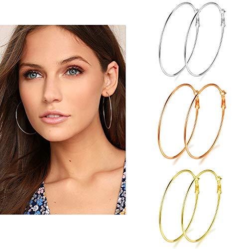 - 3 Pairs Big Hoop Earrings, 70mm Stainless Steel Hoop Earrings in Gold Plated Rose Gold Plated Silver for Women Girls (70mm)