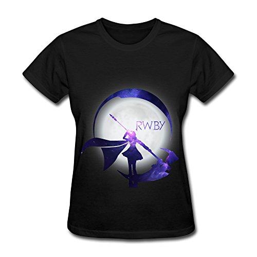 TOT2 Rwby Starry Crescent Sky Ruby Rose Logo Short Sleeve T-shirt For Women Size M Black
