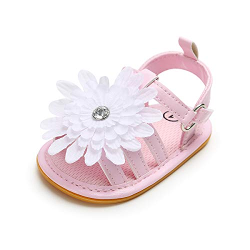 Infant Baby Girls PU Leather Soft Sandals Non-Slip Rubber Sole Toddler Summer Flower Princess Flat Shoes Pink 0-6 Months