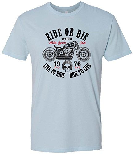 Motorcycle Graphic (Urbanica Ride or Die NY Old School Vintage Motorcycle Men's Graphic Tshirt (Large, Blue))