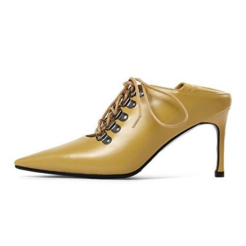 Und Gürtel Schuhe High Leder Hausschuhe Vier Punkt Hohlen Europäischen Tragen Jahreszeiten Heels Schlanke Flut Amerikanischen Rx558aqt
