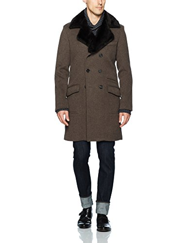 Billy Reid Men's Detachable Fur Collar Double Breasted Cashmere Bowery Coat, Brown, Large - Double Breasted Cashmere