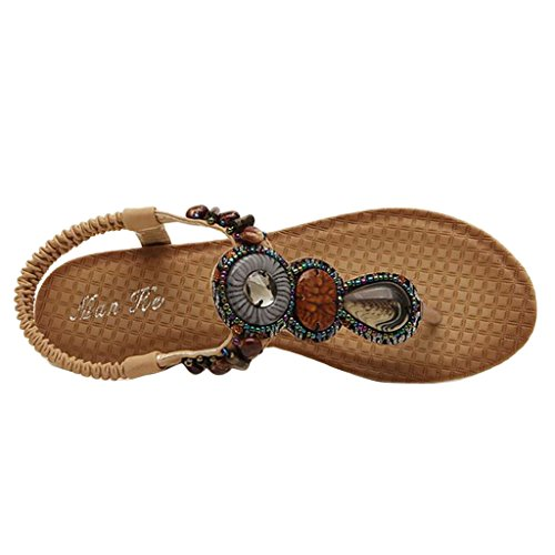 apricot Bohemian Wedge Women's Binying Handmade Beaded Sandals BY5Wwqv