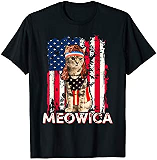 Meowica Cat Mullet American Flag Patriotic 4th of July T-shirt | Size S - 5XL