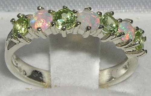 925 Sterling Silver Natural Opal & Peridot Womans Eternity Ring - Size 5 by LetsBuySilver (Image #2)