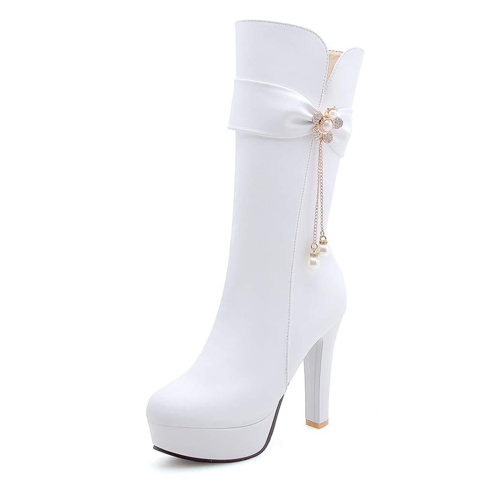 HOESCZS HOESCZS HOESCZS Plus Größe 34-43 Mode Plattform Schuhe Frau Stiefel Hinzufügen Pelz Winter High Heels Mittlere Waden Stiefel Frau Schuhe,  1f4935