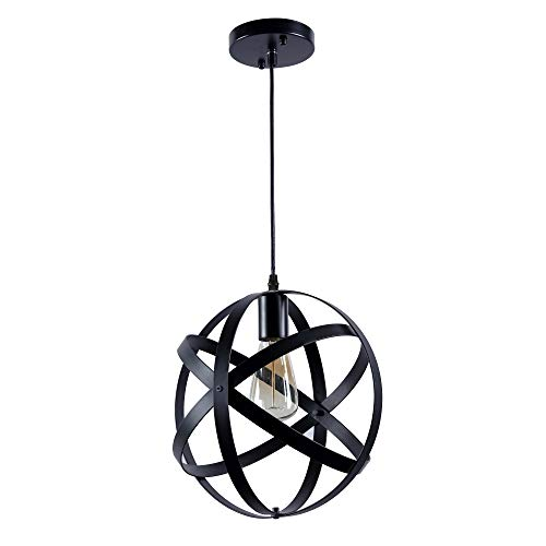 Rustic Industrial Metal Spherical Pendant Lighting Globe Edison Vintage Decorative Changeable Hanging Lighting Fixture for Kitchen Island Dining Table Bedroom Hallway by kenmi