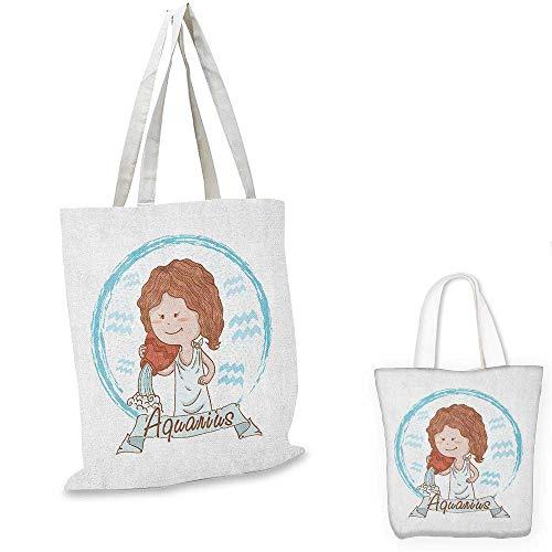 Zodiac Aquarius canvas messenger bag Little Astrology Girl with a Bucket Birthday Horoscope Character canvas beach bag Cinnamon Pale Blue. 14