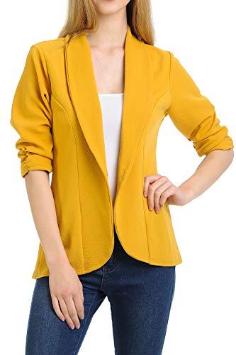 (MINEFREE Women's 3/4 Ruched Sleeve Lightweight Work Office Blazer Jacket Mustard S)