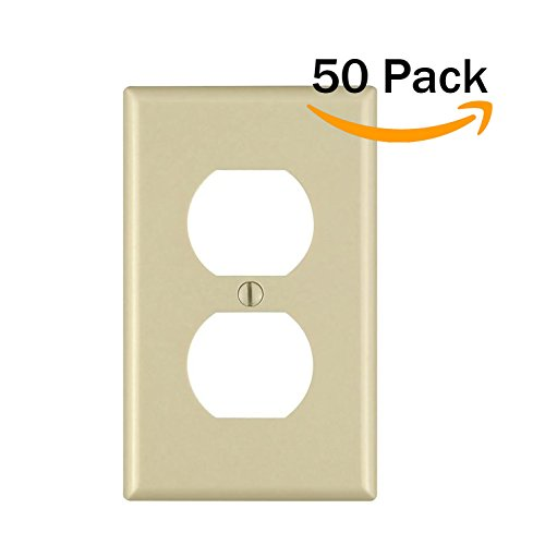 Duplex 1-Gang Device Receptacle Wallplate,Standard Size,Mount,Wall Plates Kit, Home Electrical Outlet Cover, Unbreakable Material, Pack Dual Port Replacement Faceplates Covers Ivory Plastic One (50) by Unknown