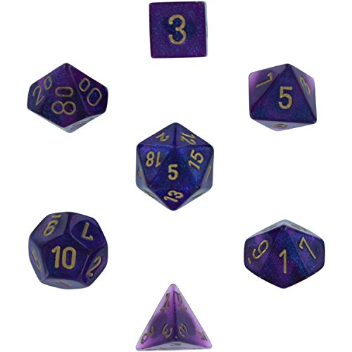 polyhedral-7-die-borealis-chessex-dice-set-royal-purple-with-gold-numbers-chx-27467