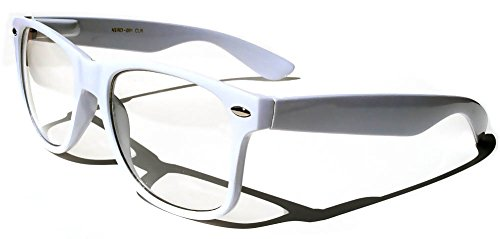 Classic Vintage Retro 80s Sunglasses White Frame Clear - Framed White Sunglasses