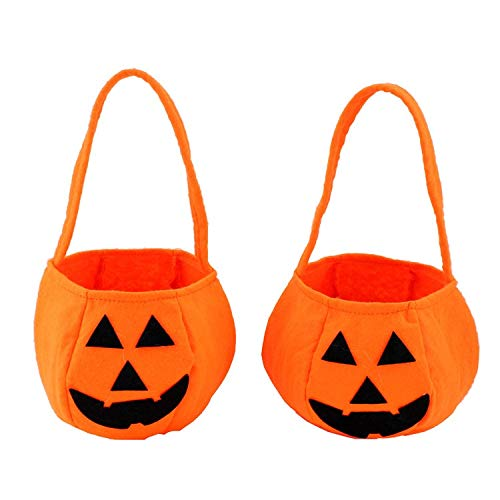 (Albabara 2 Pcs Halloween Pumpkin Bag Candy Bag Halloween Party Supplies Goody Bag for Kids' Trick-or-Treat Party Favor, Cool and Stylish Gift Sacks for Kids Presents for Halloween Party)