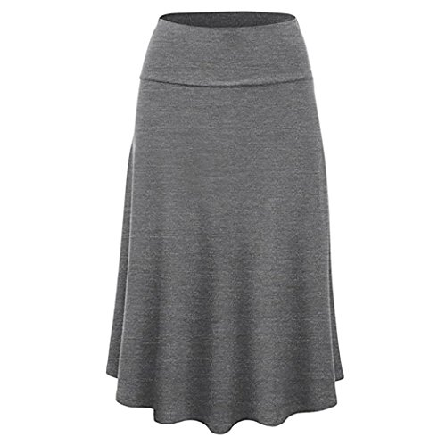 TOPUNDER Maxi Skirts for Women Solid Flare Hem High Waist Midi Skirt Sexy Pleated Skirt Gray ()