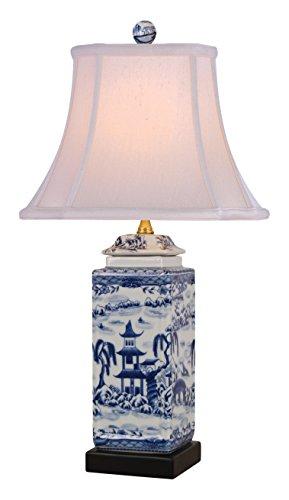 East LPBWS0811N Table Lamp, Blue/White