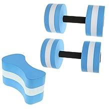MonkeyJack Water Aerobics Dumbbells + Pull Buoy Aquatic Aqua Fitness Swimming Pool Exercise - Blue/White
