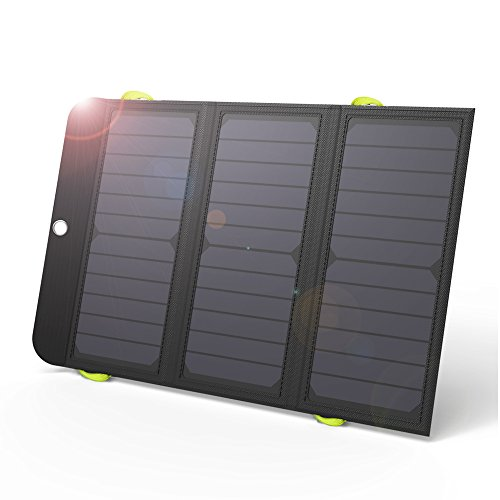 GIARIDE 21W Portable Solar Charger 4 USB Port Quick Charge 8000mAh Battery SunPower Solar Panel Foldable Power Bank for iPhone X/8/7/6/Plus, iPad, Galaxy, LG, Pixel, Tablet, Travel, Camping, Hiking by GIARIDE