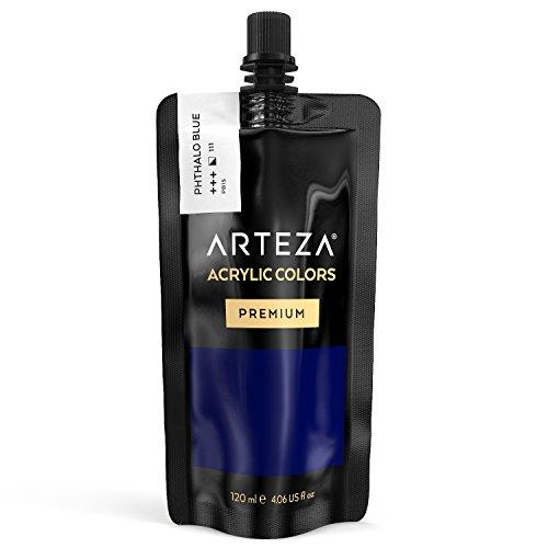 ARTEZA Acrylic Paint, Phthalo Blue Color, (120 ml Pouch, Tube)