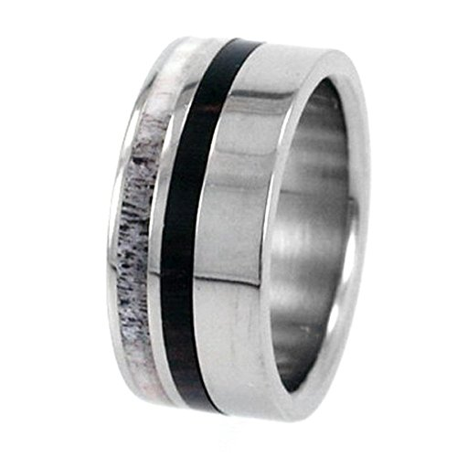 Deer Antler or Wood Stripes 10mm Comfort-Fit Interchangeable Titanium Ring, Size 5.25 by The Men's Jewelry Store (Unisex Jewelry)