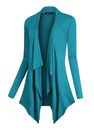 rape Front Open Cardigan Long Sleeve Irregular Hem (XL, Teal) ()