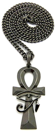 GWOOD Eye Of Horus Over Ankh New Necklace Gun Metal Color Pendant 24 Inch Cuban Link Style Chain]()