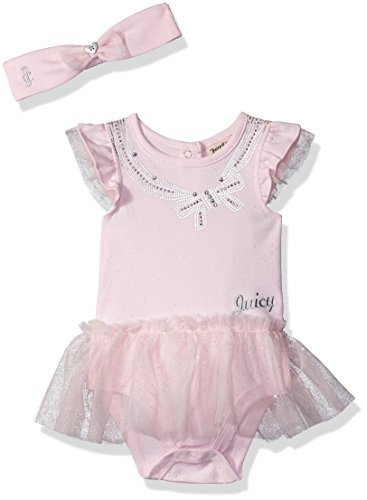 Juicy Couture Womens Glitter - Juicy Couture Baby Girls Tutu Bodysuit, Pink/Silver, 3-6 Months