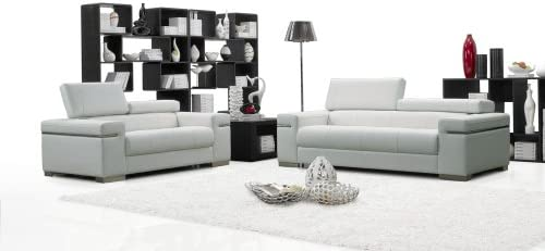 J M Furniture Soho White Leather Sofa Loveseat With Adjustable Headrests Sofa Set