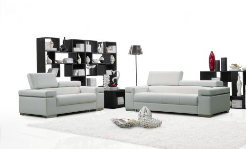 J&M Furniture Soho White Leather Sofa & Loveseat With Adjustable Headrests Sofa Set
