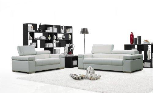 (J&M Furniture Soho White Leather Sofa & Loveseat With Adjustable Headrests Sofa Set)