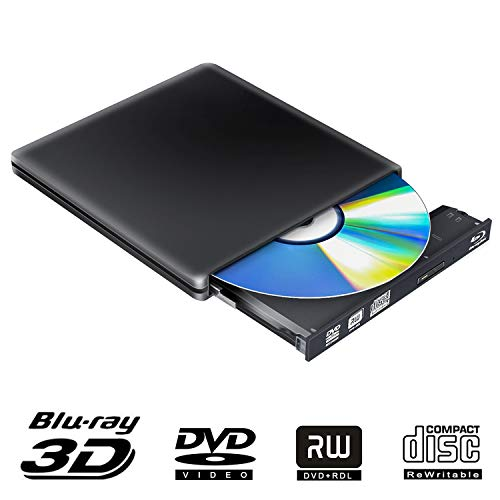 External Blu Ray DVD Drive 3D 4K, USB 3.0 Optical Portable Bluray DVD CD Burner RW Player CD Row Rewriter for MacBook OS Windows 7 8 10 PC iMac Laptop (Black-0)