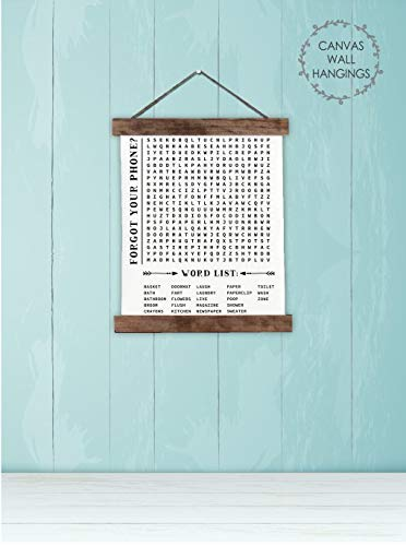 Wood & Canvas Wall Hanging Bathroom Word Search Wall Art Forgot Phone 12x14.5-Inch (For Art Wall Words)