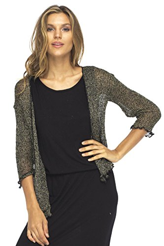 Back From Bali Metallic Shrug Lite Womens Sheer Cardigan Jacket Black Gold (Sparkle Metallic Sweater)