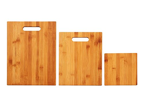 Kitchen Cutting Board - Bamboo Cutting Boards - 3 Piece Set - Organic Eco Friendly Wood Cutting Board & Serving Board - For Meat, Vegetables, Fruit & Cheese