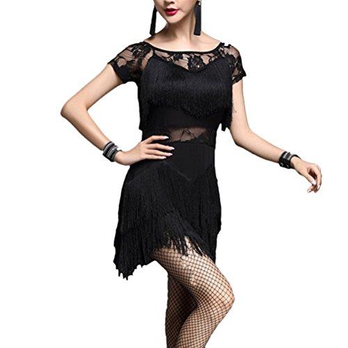 Prom for Performance Ballroom Latin Salsa Dress Black Zhuhaitf Dance Costume Ladies Womens Tassel Party wCq7x6v