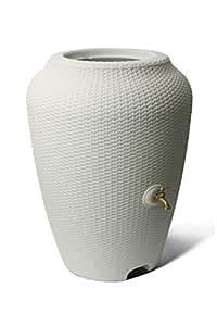 Algreen 81414 50 Gallon Wicker Rain Barrel, White Sand