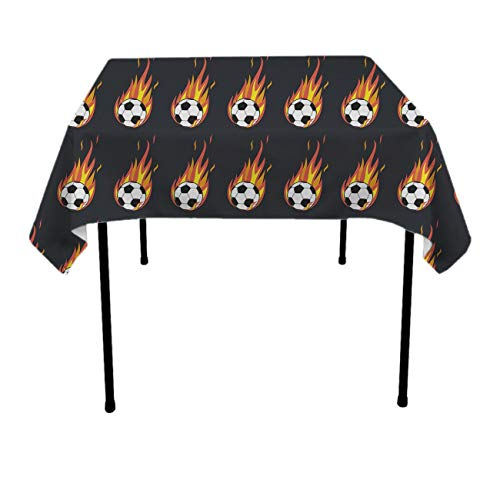 (GOAEACH Premium Waterproof Table Cover, Rectangular Square 3D Print Flaming Soccer Ball Tablecloths, Dust-Proof Stain Resistant Table Toppers - Table)