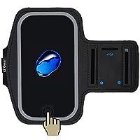 Estuche para brazalete de teléfono celular i2 Gear - Soporte para teléfono para correr, iPhone 8 7 6 6S 5 5S 5C SE Teléfonos celulares con banda para el brazo ajustable, borde reflectante, protección de pantalla táctil y soporte para llaves (negro)