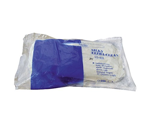 Ansell 93-401-M Nitrilite Clean Nitrile Gloves, Class 10 (ISO 4), Capacity, Volume, Nitrile, Medium, White (00)
