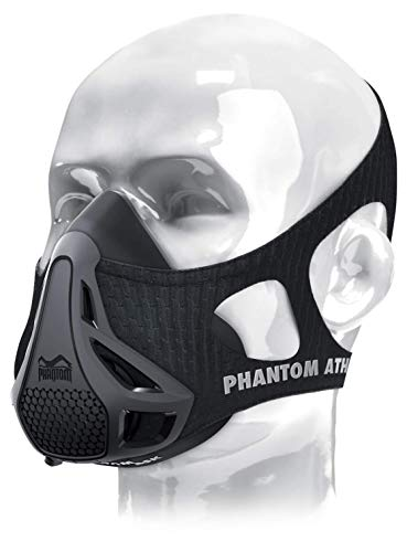 Phantom Training Mask - Mask Carrying Case Set High Altitude Elevation Simulation - for Gym Cardio Fitness Running Endurance and HIIT Training (Black, Large)