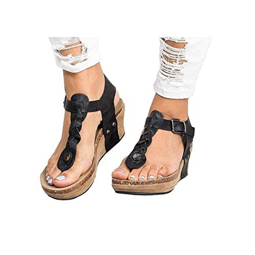 Women's Aditi Low Wedge Dress Sandals Casual Flip Flops Buckle Strap Wedges Sandals Platforms Shoes Black