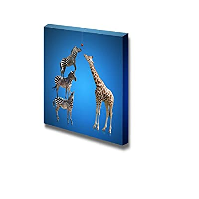 Fascinating Artistry, Made With Top Quality, Three Zebras Standing Together to Be Taller Than a Giraffe Teamwork Unity Concept Image Art Wall Decor