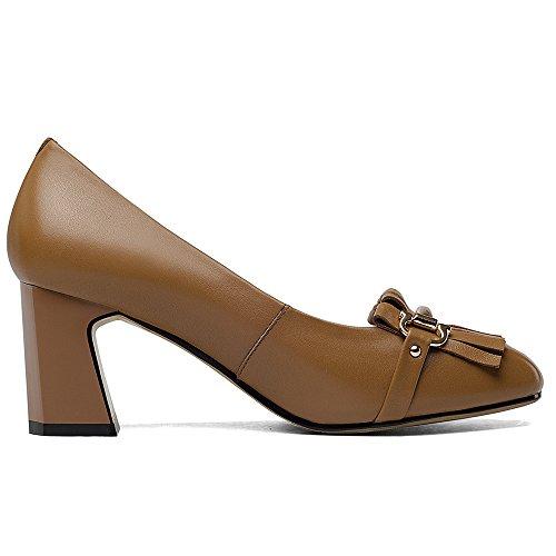 Nine Seven Cuero Puntera Cuadrada Zapatos de Tacón Grueso con Flecos para Mujer marrón