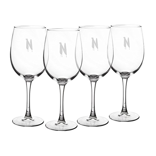 4 Wine Glass Letter - Cathy's Concepts Personalized Spooky White Wine Glasses, Set of 4, Letter N