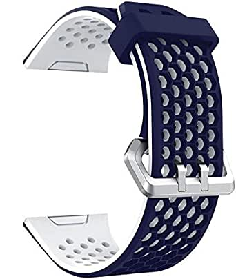 For Fitbit Ionic, iSank Soft Silicone Sports Wristband Strap Replacement Band For Fitbit Lonic Smart Fitness Watch,Large - Dark Blue&White