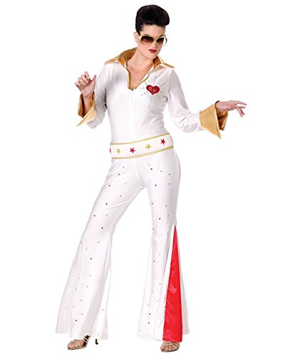 [Sexy Elvis Costume Celebrity Costumes Jumpsuit With Glitter and Rhinestones Sizes: Medium-Large] (Elvis Impersonator Costume)